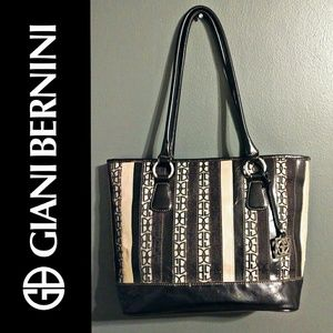 Giani Bernini Striped Logo Tote handbag Purse